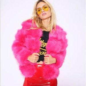 Pink Faux Fur Coat (Size M)